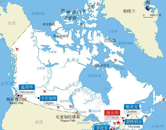 加拿大旅游,加拿大旅游地图,加拿大景点介绍