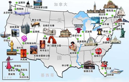 美国旅游,美国旅游地图
